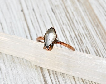 Raw Quartz Crystal Ring, Raw Crystal Copper Ring, Natural Quartz Copper Ring, Raw Stone Ring, Electroformed Crystal Ring