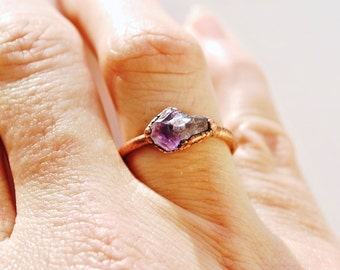 Raw Amethyst Gemstone Ring, Amethyst Raw Stone Ring, Size 7 Gemstone Ring, February Birthstone Amethyst