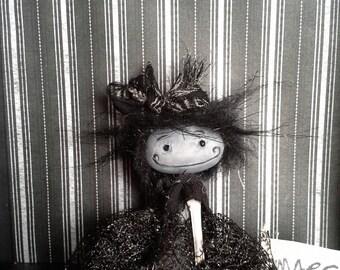 "Primitve art doll accessory BJD prop miniature creepy cute ""Amy"" party favor goth"