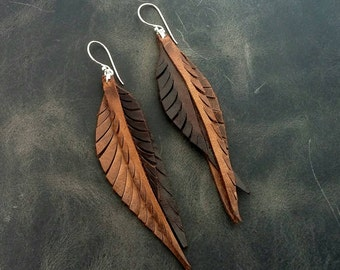 Brown Leather Feather Earrings with Sterling Silver Hooks and Rings