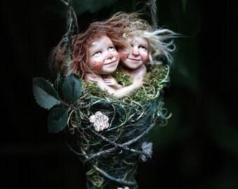 Pixie girls Saskia and Susa handmade decoration Wichtelkinder
