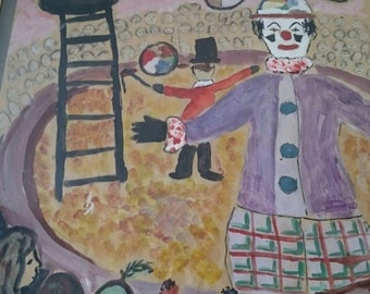 Vintage Clown and Children At The Circus Original Watercolor Painting 1963