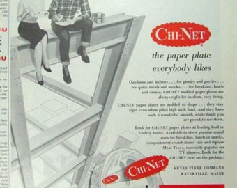 Chi-Net Plates Skyscraper Construction Kitchen 50s Family 3/4 Page Vintage Advertising Wall Art Decor E126