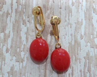 Dangle Clip On Earrings, Tomato Red Clipons, Non Pierced Earrings, Gold Tone Clipons Findings - Paige - -6