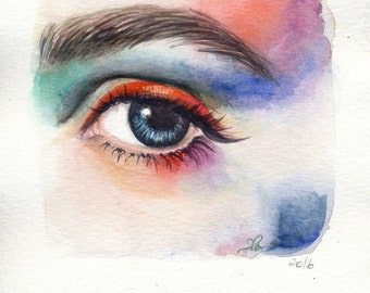 cmyk eyes- original watercolor painting