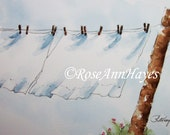 Laundry Room Art Watercolor Painting Wash Day Country Clothesline White Sheets Print