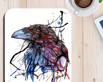The Red Raven Watercolor Art Print Mouse Pad