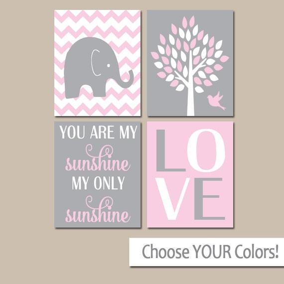 Pink Gray Nursery Girl Elephant Nursery Wall Art Baby by