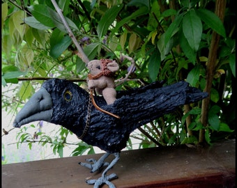 Soft Sculpture Primitive Mouse and Standing Crow Art Doll