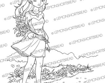 Digital Stamp Summer Garden Girl, Digi Download, Floral Flowers, Coloring Page, Clip Art, Card Scrapbooking Supplies