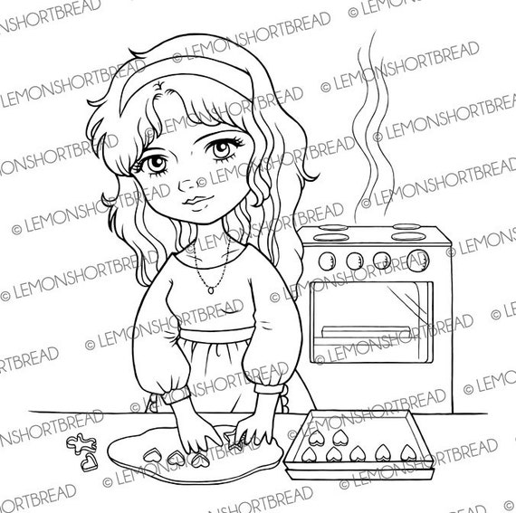 Baking Cookies Girl Digital Stamp, Digi stamp PNG, Cute Anime, Desserts Pastry Bakery, Hearts Valentines, Mother's Day, Instant Download