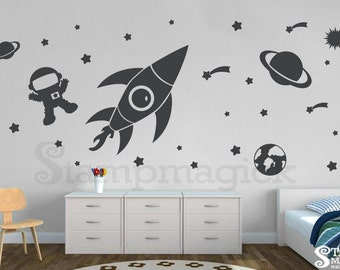 Outer Space Wall Decal - LARGE version - Boy Nursery Bedroom Baby - Rocket Shuttle Vinyl Wall Art Decor - K150L