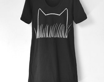 Womens Cat Print T-shirt Dress : gift for women, fall gift, crazy cat lady gift american apparel, little black dress, womens dresses, lbd