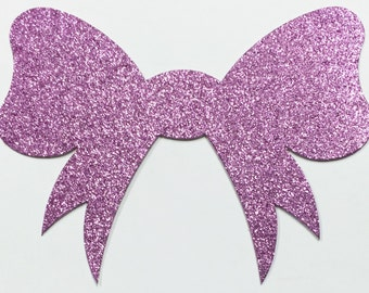 Big Pink Glitter Bow - 6 x 4.5 Inch Size - Lilac Glitter Card Stock - Scrapbook, Art, Craft, Paper, Greeting, Mixed Media, Collage, Girls