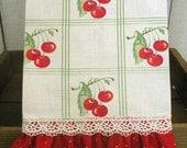 Cheery Cherries Retro Farmhouse Kitchen towel red ruffles ECS Cherry decor