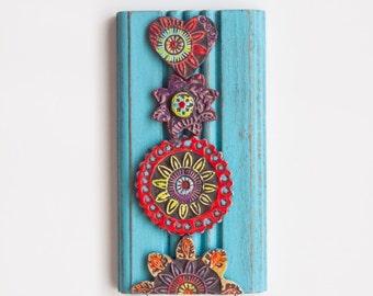 Key Hook Entryway Hooks Accessory Hanger Repurposed Trim Wall Art Colorful Ceramic Tiles Pottery Whimsical Heart Scandinavian Folk Style