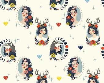 Birch Tall Tales Madame Cream Organic Cotton Fabric