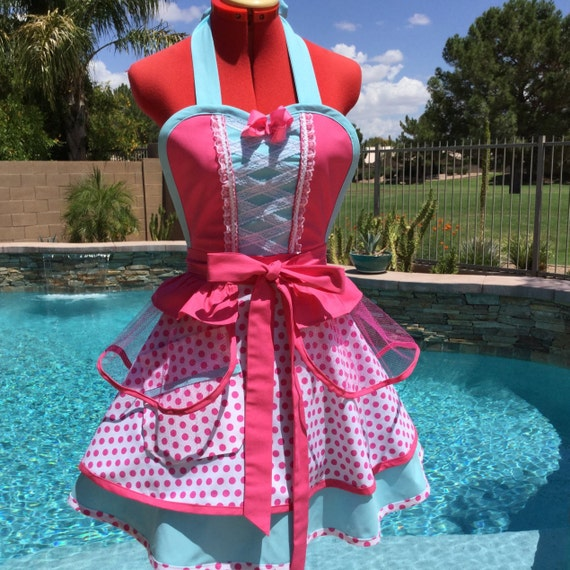 Little Bo Peep Inspired Sassy Apron, Girls Aprons, Cosplay Bo Peep, Womens Plus Sizes, Retro Chic, Full, Pin Up, Dress Up Party Costume
