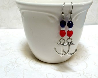 Silver anchor earrings, nautical charms, red white and blue, made in USA, summer jewelry, nautical jewelry