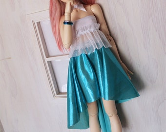 Doll MSD Minifee BJD clothes Turquoise sparkle mermaid hi-low skirt MonstroDesigns
