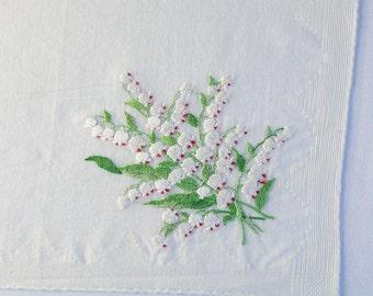 Vintage Handkerchief Hankie Embroidered White Bleeding Hearts Bouquet