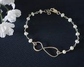 Sterling Silver Infinity Bracelet Pearl , Jewelry, Sterling Silver, Mother Bracelet, Grandma, Infinite Friendship, Bestie, BFF
