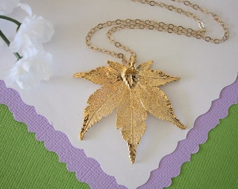 Gold Japanese Maple Leaf Necklace, Real Silver Leaf, Real Maple Leaf Necklace, Maple Leaf, Gold Filled, LC95