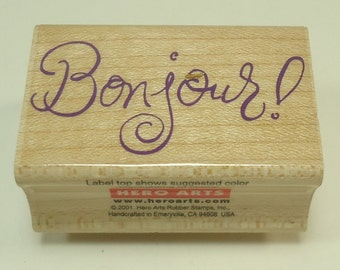 Bonjour! Wood Mounted Rubber Stamp By Hero Arts Hello, Friends, Friendship