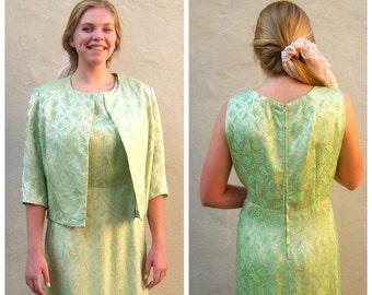 60s brocade dress set / Gold green paisley / vintage cocktail dress, mid century party dress / large xlarge xl plus size, bust 48