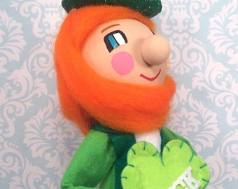 Leprichaun centerpiece irish man luck ooak art doll St Patricks day decor vintage retro inspired