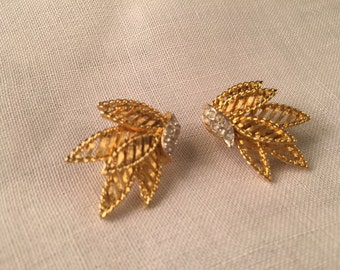 Very Pretty Vintage 1960s Goldtone and Rhinestone COROCRAFT Earrings