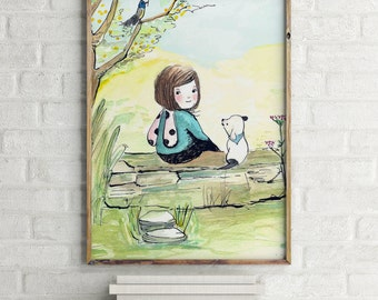 Girls room decor, nursery decor, nursery girl decor, girl nursery art, girls wall decor, wall art for girls, dog wall art, dog wall decor