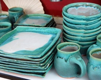 Turquoise and White Service for Eight Dinnerware Set - Made to Order