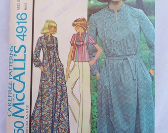 Vintage 1970's Yoke Dress Pattern Miss Size 8 Vintage McCall's 4916 Bust 31 1/2 UNCUT Peasant Style Dress Muu Muu Peasant Top Wide Leg Pants