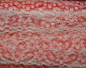 Heart Craft Ribbon, Red & White Lace Craft Ribbon, Crafting Sweet Heart, Valentine, Wedding Lace, Bridal Lace