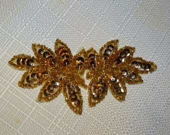 Vintage Beaded Applique, Gold Grape Leaf Beaded Applique, 2 Pieces, Embellishment, Bridesmaid Dress Accent, 1970's Beadwork