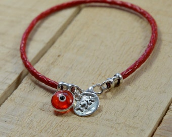 Unisex Red Leather Kabbalah Protection Bracelet