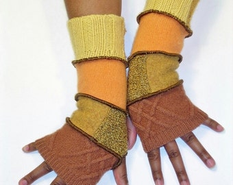Gold Fingerless Gloves, Arm Warmers,(Cinnamon/Patched Gold, Yellow Orche /Mango/Patched Butter Yellow, Marigold Yellow)