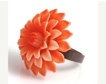 Dahlia Ring, Flower Ring, Vintage Ring,Orange Ring,Vintage Orange Dahlia Ring