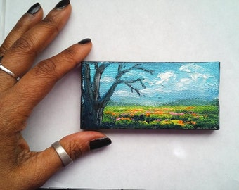 "Mini Oil Painting landscape Tree Pink Orange Yellow Wildflowers 2""x 4"" READY to SHIP"