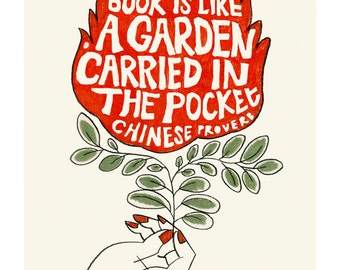 "Typography illustration print -  A book is like a Garden Carried in the Pocket 8.3"" X 11.8"" print - 4 for 3 Sale"