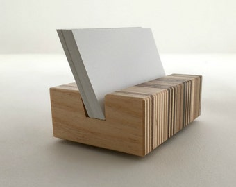 Business Card Holder, Wood, Unique Gift, Retro Mid Century Design Professional Cardholder, Minimalist Design in Recycled Wood