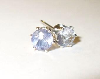 Color-Change Fluorite Stud Earrings - Genuine, Natural Gemstone