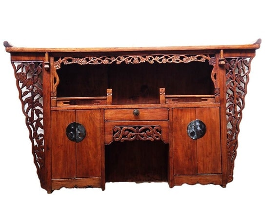 Antique Chinese Bamboo and Prunus Blossom Altar