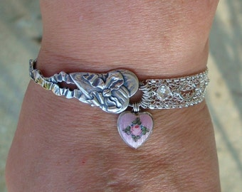 Vintage Good Luck Wedding Bride 1900s  Art Nouveau Pink Enamel Sterling Silver Spoon Heart Ring Bracelet