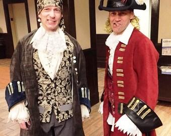 Pirate Costume Ensemble Dandy Captain Style Jacket Shirt Vest Pants Jabot Hat Scarf