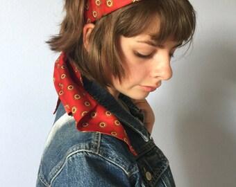 Vintage Red Scarf - Medallion Print - Boho - 1970s Hair Scarf, Neck Scarf