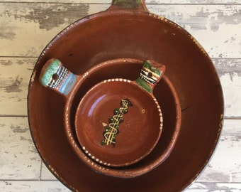Vintage Redware Pottery Bowls - Mexican - Large Medium Small- Tlaquepaque 1950s Handpainted Terra Cotta