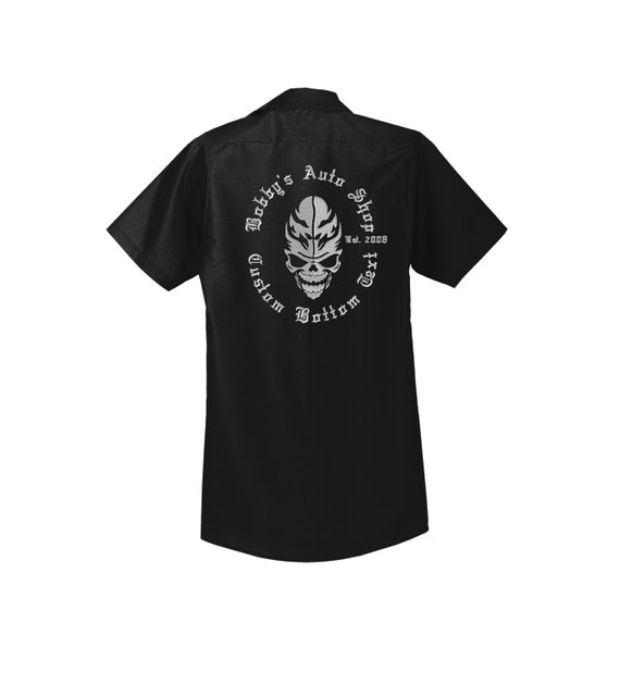 Custom Black Skull Shop Shirt Work Shirt Mechanic Uniform