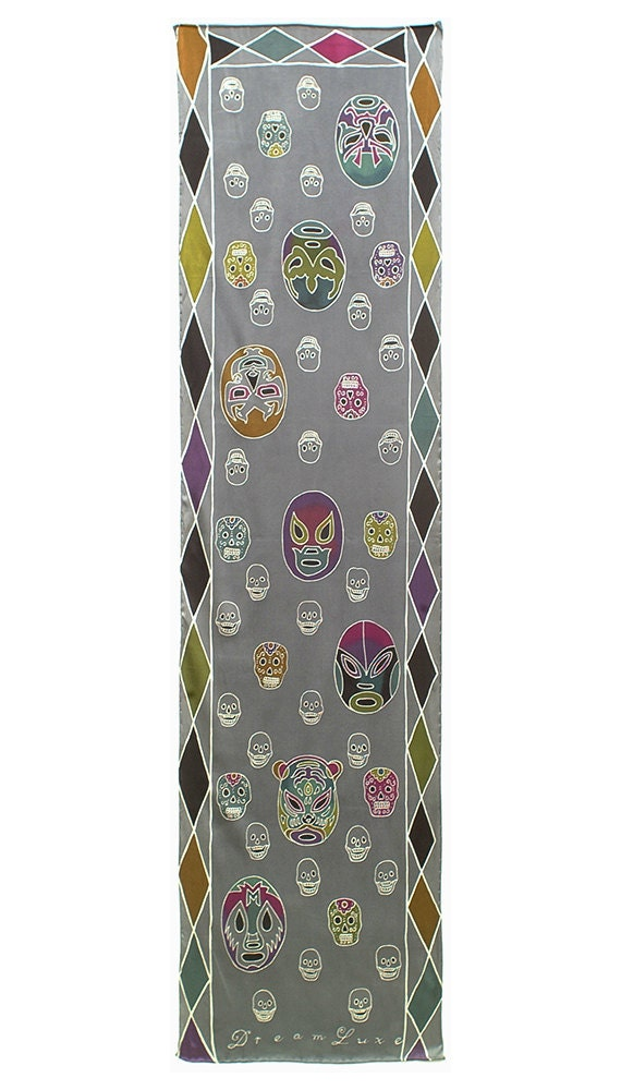 Mexican wrestling masks and skulls hand painted artistic scarf